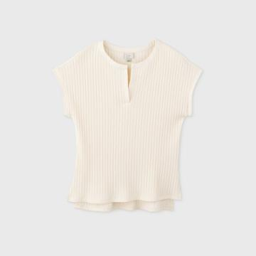 Women's Short Sleeve V-neck Wide Rib Top - A New Day Cream Xs, Women's, Ivory