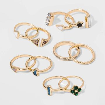 Shiny Gold With Acrylic Stone Multi Ring Pack - Wild Fable , Women's,