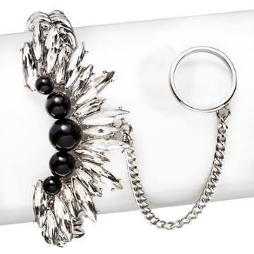 Target 8 Other Reasons Simulated Pearls And Glass Stone Handchain Bracelet - Silver, Night Black