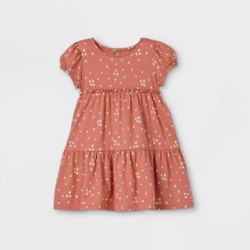 Toddler Girls' Heart Short Sleeve Dress - Art Class Coral