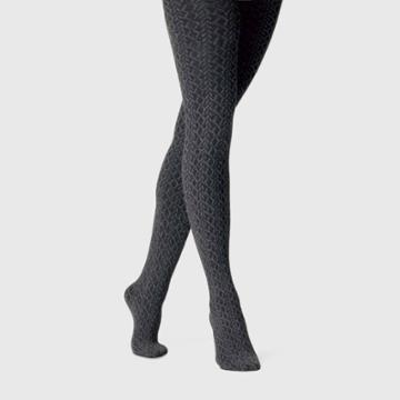 Women's Cable Fleece Lined Tights - A New Day Charcoal Heather S/m, Size: Small/medium, Gray