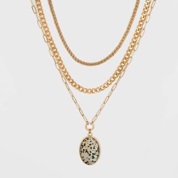Semi-precious Dalmation Layered Necklace - Universal Thread Cream