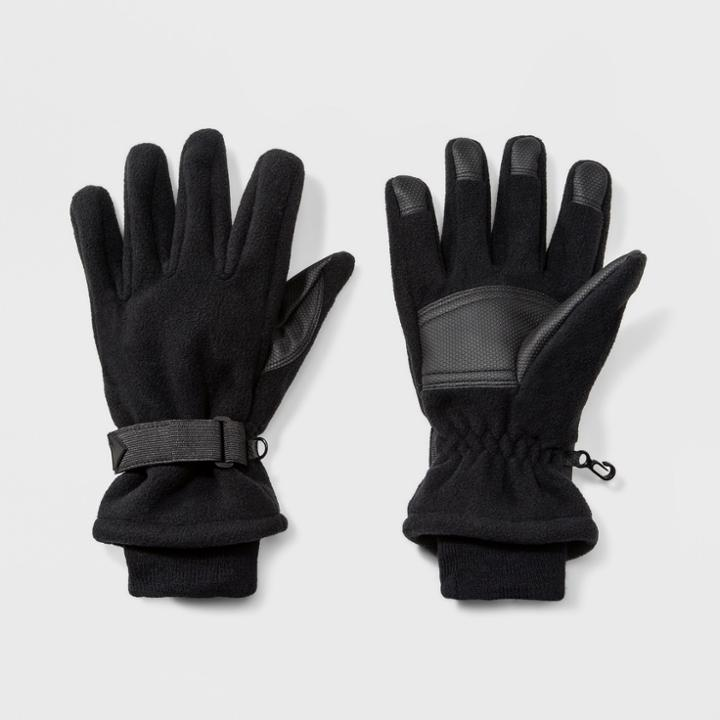 Men's Wind Proof Fleece Glove With Knit Cuff Gloves - Goodfellow & Co Black