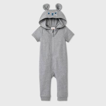 Baby Boys' Bear Short Sleeve Romper - Cat & Jack Gray