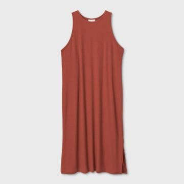 Women's Plus Size Sleeveless Racertank Rib-knit Dress - Prologue Brown 1x, Women's,