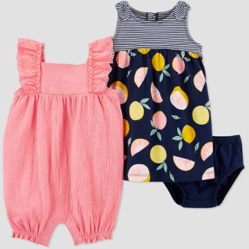 Baby Girls' 2pk Floral & Grapefruit Romper Set - Just One You Made By Carter's Pink Newborn