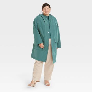 Women's Plus Size Rain Coat - A New Day Green