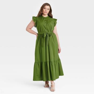 Women's Plus Size Ruffle Short Sleeve A-line Dress - Who What Wear Green