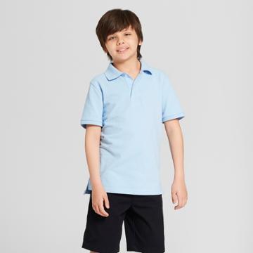 Boys' Short Sleeve Pique Uniform Polo Shirt - Cat & Jack Blue Xxl, Windy Blue
