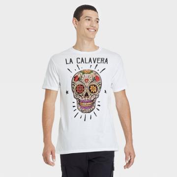Bioworld Men's La Calavera Skull Short Sleeve Graphic T-shirt - White