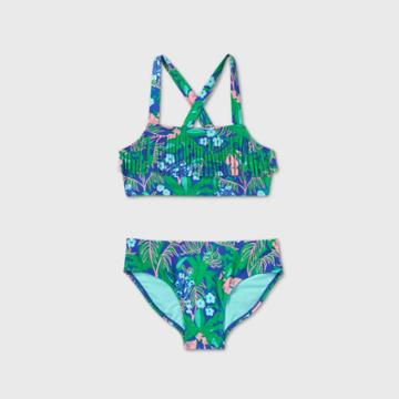 Girls' Tropical Floral Fringe Bikini Set - Cat & Jack Green