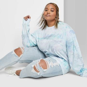 Women's Plus Size Long Sleeve Crewneck Relaxed Tie Dye T-shirt - Wild Fable Blue 1x, Women's, Size: 1xl,