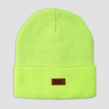 Levi's Men's Leather Patch Beanie - Neon Yellow