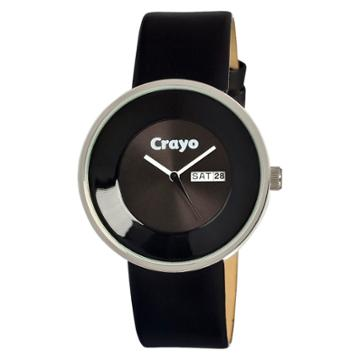 Women's Crayo Button Watch With Day And Date Display - Black,