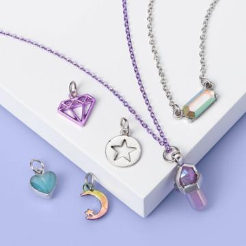 Girls' Crescent And Diamond Necklace Set - More Than Magic , Purple/silver
