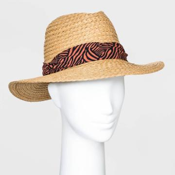 Women's Animal Band Fedora Hats - A New Day Natural One Size, Women's, Yellow
