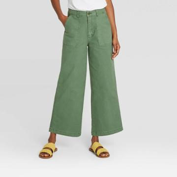 Women's High-rise Wide Leg Cropped Jeans - Universal Thread Green