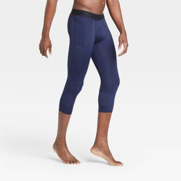 Men's Fitted 3/4 Tights - All In Motion Navy S, Men's, Size: