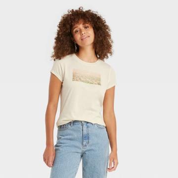 Women's Short Sleeve T-shirt - Universal Thread Cream Landscape Print