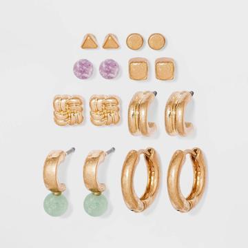 Semi-precious Jade And Lepidolite Stud Hoop Earrings - Universal Thread Gold