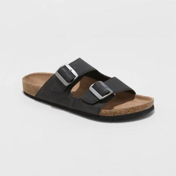Men's Ashwin Double Buckle Footbed Sandals - Goodfellow & Co Black