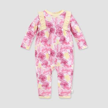Burt's Bees Baby Baby Girls' Organic Cotton Vibrant Blooms Jumpsuit - Pink 0-3m, Girl's, Purple Pink