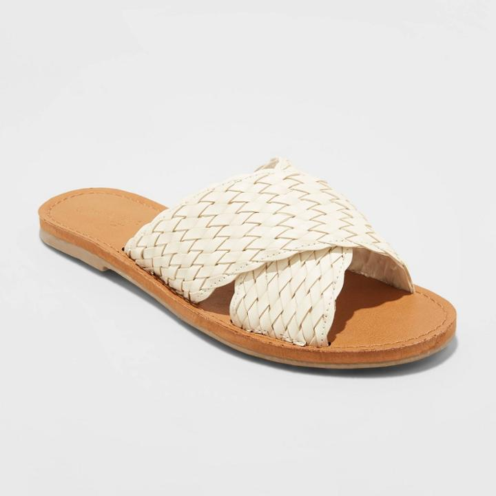 Women's Tabitha Woven Crossband Slide Sandals - Universal Thread Bone 8.5, Women's, Ivory