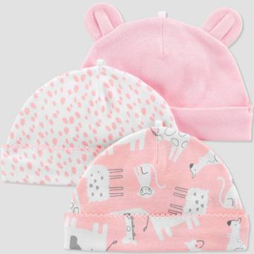 Baby Girls' 3pk Caps - Just One You Made By Carter's Pink 0-3m, Girl's,