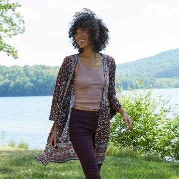 Women's Floral Print Short Sleeve Kimono Jacket - Knox Rose Black
