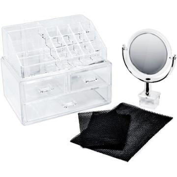 Sorbus Makeup Storage Organizer With Magnifying Mirror - Clear, Adult Unisex