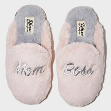 Women's Dluxe By Dearfoams Mom Boss Slide Slippers - Pink S, Women's,