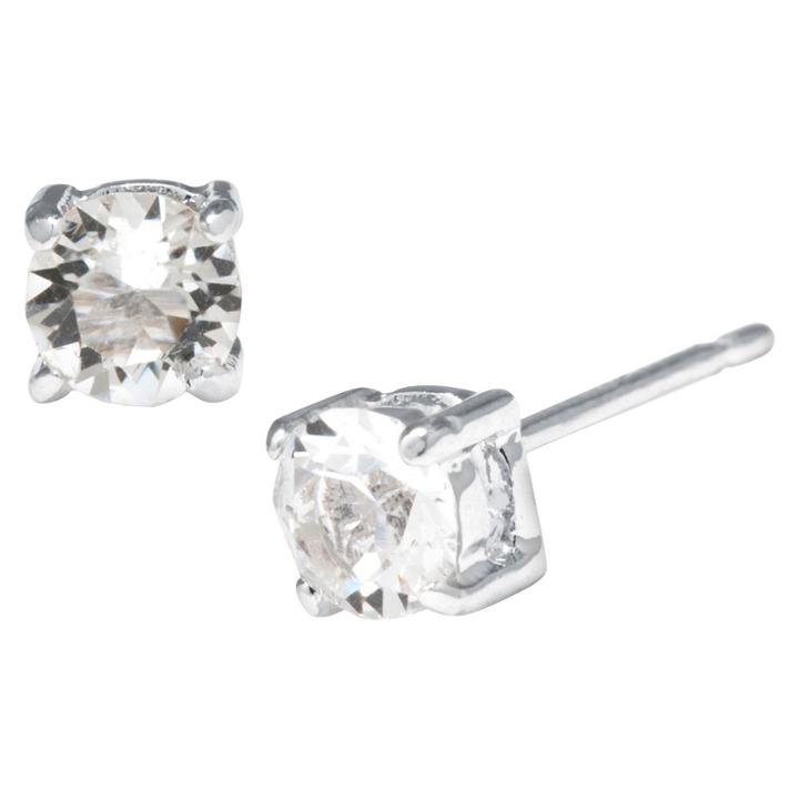Target Silver Plated Brass Clear Stud Earrings With Crystals From Swarovski (4mm), Women's,