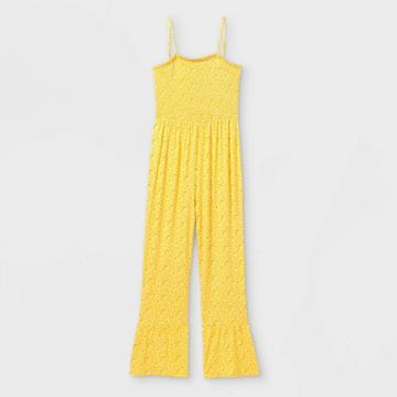 Girls' Smocked Jumpsuit - Art Class Yellow