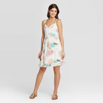 Women's Floral Print Sleeveless Lace Detail Tiered Dress - Xhilaration Off White Xs, Women's, Beige
