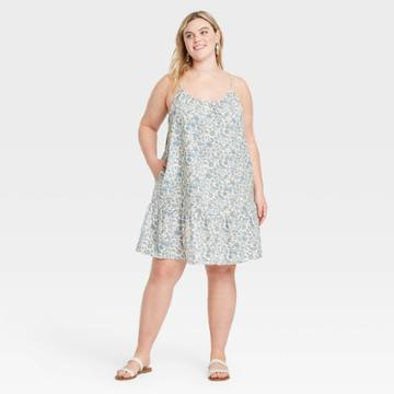 Women's Plus Size Sleeveless Sundress - Universal Thread Blue Floral