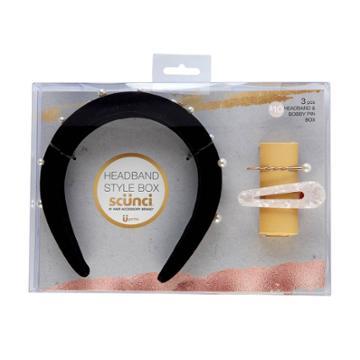 Scunci Padded Headband & Bobby Pin Gift Set - Black