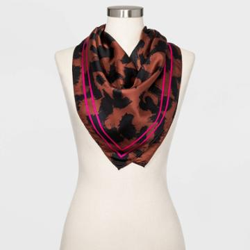 Women's Large Square Leopard Print Silk Scarf - A New Day Brown One Size, Women's