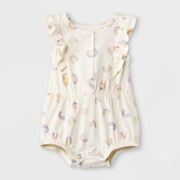 Grayson Mini Baby Girls' Rainbow Ruffle Romper - White