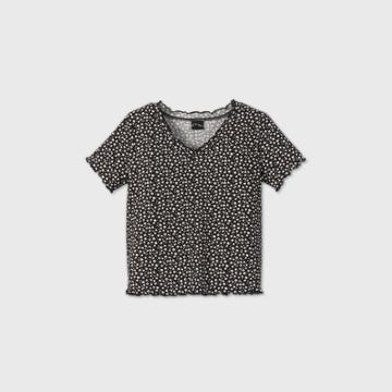 Girls' Thermal V-neck Short Sleeve T-shirt - Art Class Black