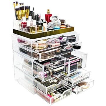 Sorbus Makeup Storage Organizer - X-large - Set 2 - Silver, Adult Unisex