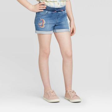 Girls' Pull-on Unicorn Jean Shorts- Cat & Jack Medium Wash Xs, Girl's,