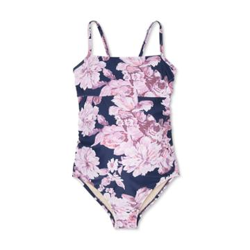 Maternity Floral Print Square Neck With Tie Back One Piece Swimsuit - Isabel Maternity By Ingrid & Isabel S, Blue/blue/pink