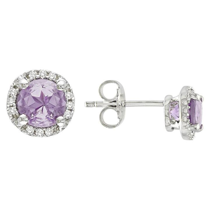 No Brand Amethyst And Diamond Earrings In Sterling Silver - Purple, Purple/purple/silver