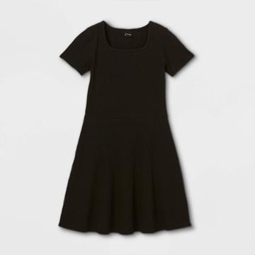 Girls' Square Neck Short Sleeve Ribbed Dress - Art Class Black