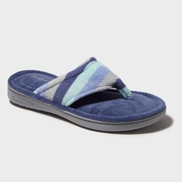 Women's Dearfoams Terry Stripe Thong Slippers - Blue Xl (11-12), Blue Green Gray