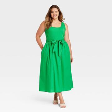 Women's Plus Size Sleeveless Knit Woven Dress - Who What Wear Green
