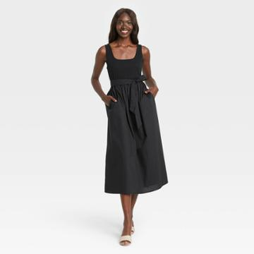 Women's Sleeveless Knit Woven Dress - Who What Wear Black