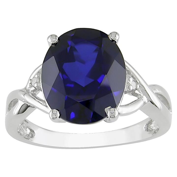Target Created Blue Sapphire And Diamond Ring In Sterling Silver - Blue/white, Size: 6.0, Blue White