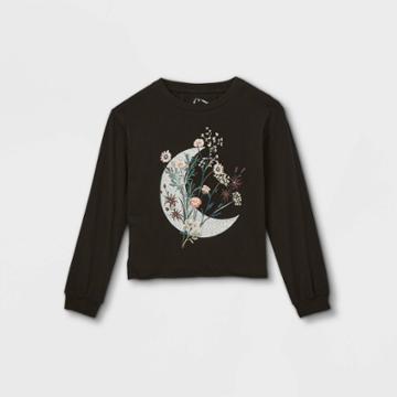 Girls' Graphic Long Sleeve T-shirt - Art Class Black