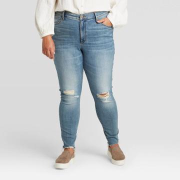 Women's Plus Size Distressed High-rise Skinny Jeans - Universal Thread Medium Wash